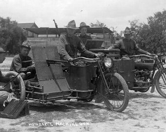 Motorcycle Machine Gun, Soldiers, WWII, 1940's, Photo Print