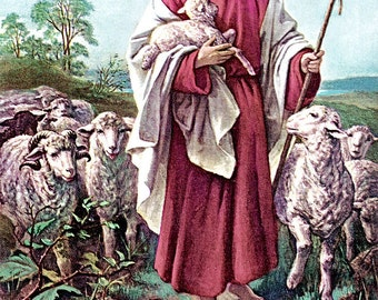 The Lord is my Good Shepherd, 1923, Jesus with a lamb, sheep, print