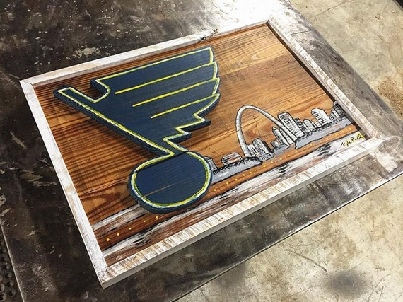 Reclaimed Wood St. Louis Blues Sign / Recycled Wood Artwork / Blues Sign /  Blues - Reclaimed Wood St. Louis Blues Sign / Recycled Wood Artwork /