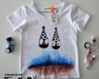 Kids' Clothing, Hand painted t-shirts, Limited Hand painted Kids-100% cotton white tshirt-Inspired by illustration.