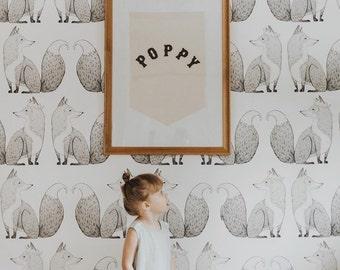 "Mister Fox Wallpaper - Forest Animal Wallpaper, Nursery Decor 25""W x 108""H"