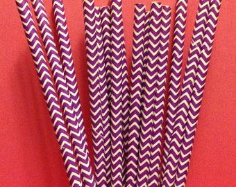 CLEARANCE! Paper Straws 25 Purple Chevron
