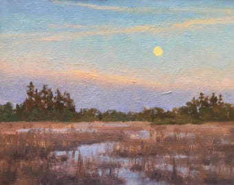 Wetland Moonrise - Original contemporary landscape painting - Oil Painting