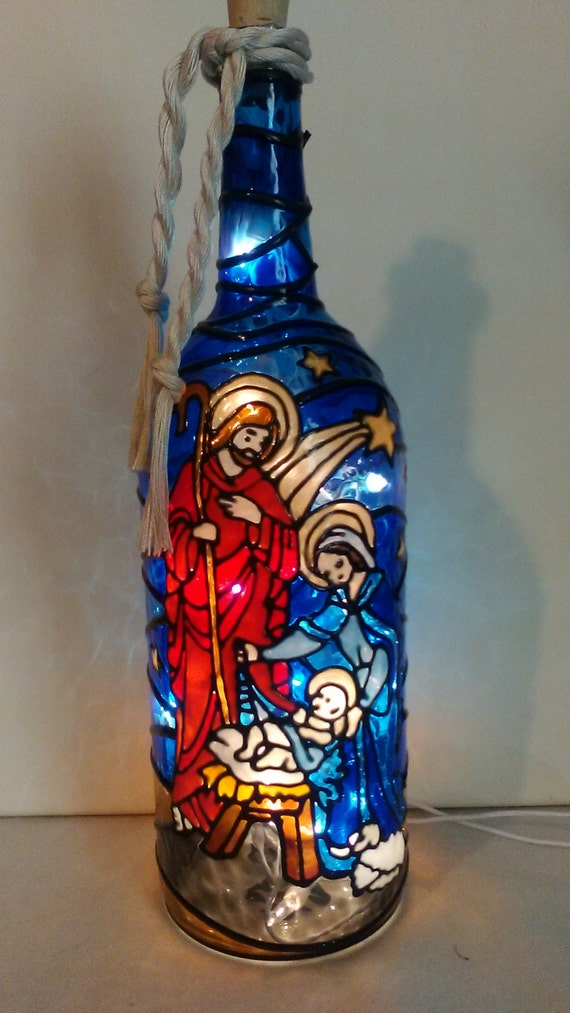 Nativity Scene Bottle Lamp Stained Glass Look Hand Painted