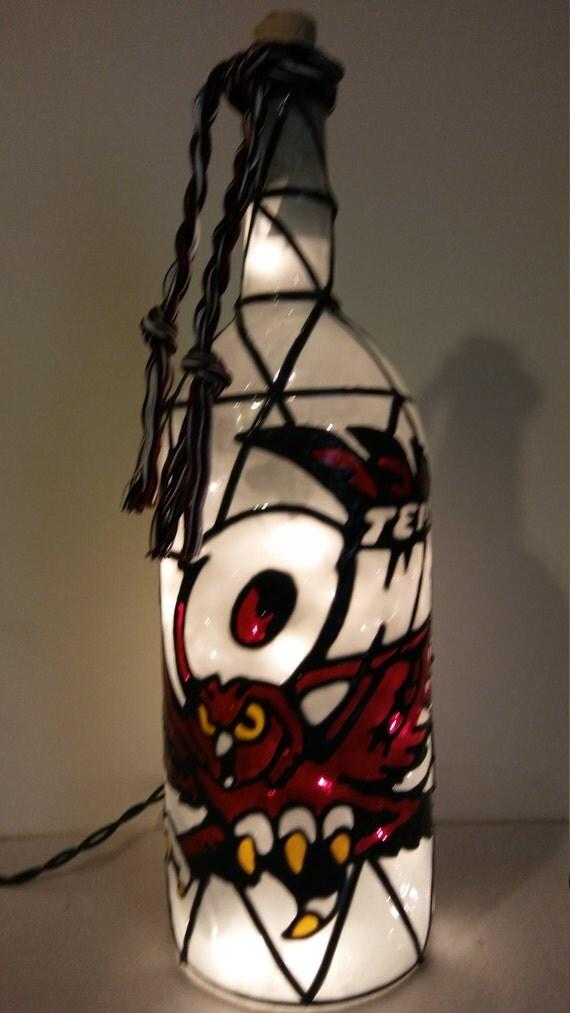 Temple Owls Inspired Wine Bottle Lamp Handpainted