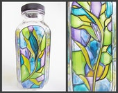 Eco Friendly Stained Glass Water Bottle, bamboo plant art, smoothie flower vase leaves green blue nature girl yoga hippie boho stained-glass