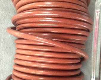On Sale NOW 25%OFF 5Mm Round Leather Cord - Cognac - 2ft