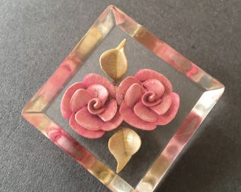 Lucite Brooch Pin Reverse Carved Rose Floral Flowers Blush Pink