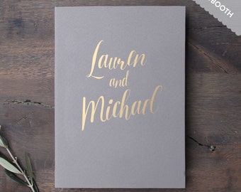 Photobooth Wedding Album Gray with Gold Lettering Guest book Personalised Wedding book - by Liumy