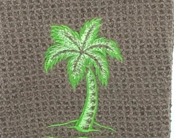 Green Palm Tree Embroidered Microfiber Hand Towel - Brown