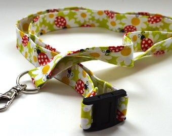 Ladybug and Flower Lanyard - ID Holder