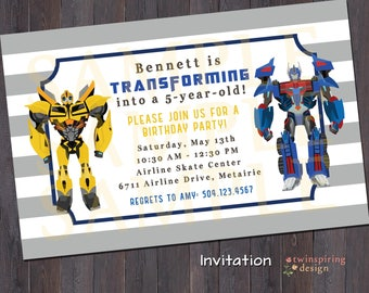 Transform Birthday Party Invitation and/or Thank You Note DIGITAL FILES