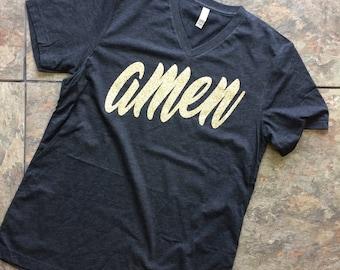 Amen Gold Glitter T-shirt