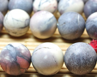 32 pcs of Natural Rainbow Jasper matte round beads in 12mm (06132#)