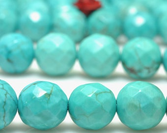 64 Faces-'47 pcs of Natural Green Turquoise faceted round beads in 8 mm
