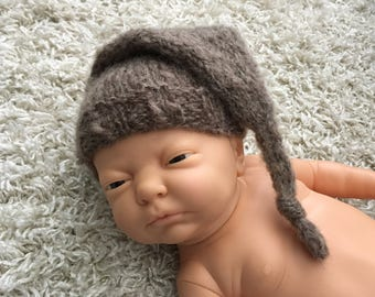 Newborn knit mohair long tail knotty hat ,knit,crochet,photo prop,coming home,gift idea