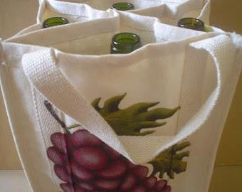 Backpack 4 wine bottles, reusable bag, bag gift bag for consumption, adult, hand-painted, SAQ