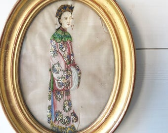 A beautiful antique Chinese Pith paper or rice paper painting