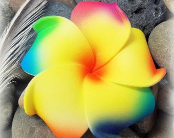 Plumeria Hair Clip, New COLOR Yellow with Rainbow Petals, Frangipani, Hawaiian Hair flower, Beach Wedding, LGBT, FREE Mini Plumeria hairclip