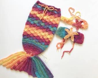 Crochet mermaid tail cacoon set, mermaid tail, baby mermaid, baby gift, crochet mermaid tail