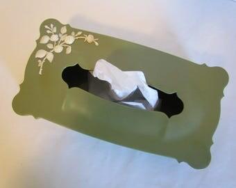 Vintage Olive Green Plastic Tissue Kleenex Box Cover Holder Dispenser