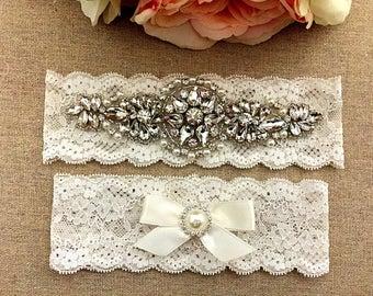 Ivory Wedding Garter Set - Pearl Garter - Rhinestone Garter - Toss Garter - Bridal Garter - Wedding Garter Belt - Keepsake Garter