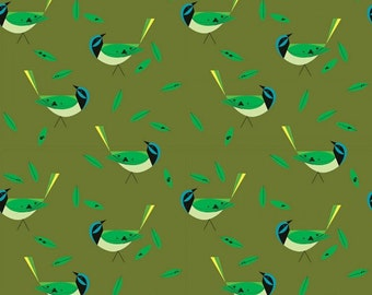 Green Jay- Organic Cotton Fabric - Charley Harper Western Birds for Birch Fabrics