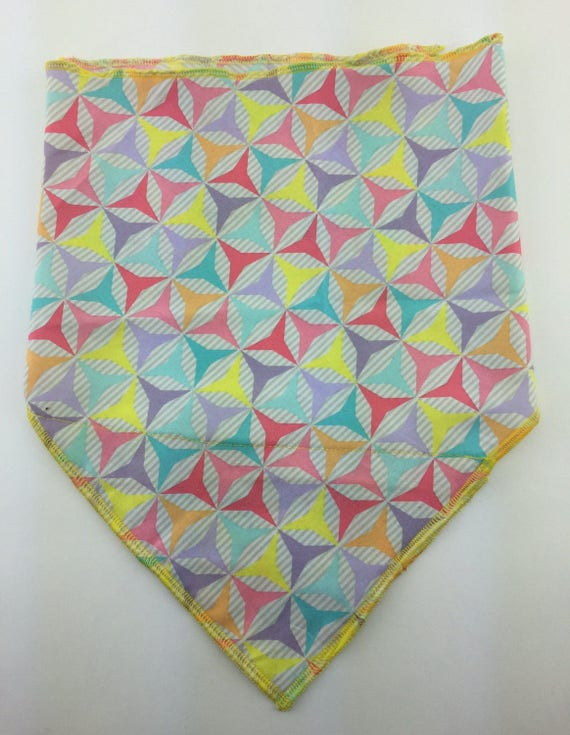 Feelin' Frisky: Lavender Striped Cotton Bandana w/ Pink, Yellow, Red, Aqua Blue, Orange Geometric Print & Secret Pocket