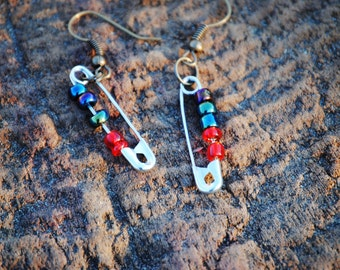 Artsy glass bead earrings with aqua two toned and red bead attachments