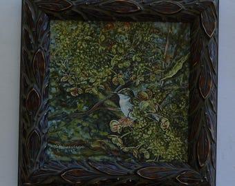 Framed Hummingbird Oil Painting