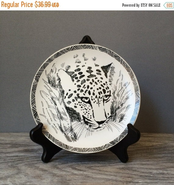 "ON SALE San Diego Zoo Leopard Plates, Black and White, 1989 Designed by Jill Gotschalk, 7.5"" Dessert or Luncheon Plates, Set of SIX"