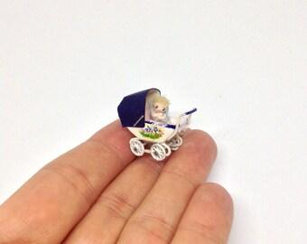 Miniature Coach Built Balmoral Pushchair Pram Stroller Buggy & Baby Girl / Boy For Dollhouse Nursery