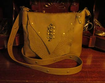 Steampunk Hasp Latch Messenger Cross Body Purse Shoulder Bag in Tan Leather  -- The Explorer