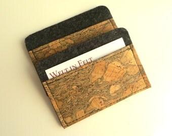 Card Holder, Dark Grey Business Card Holder, Wool Felt and Cork Leather Case, Leather and Felt Card Holder, Dark Gray Card Holder