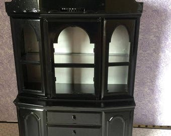 Upcycled Doll Furniture  - Hutch / Cabinet / Bookcase - Suitable for Display or Diorama