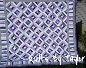 Purple  and Gray Quilt, Made to order, Queen Quilt, King Quit, pick size, Purple Quilt, Teal Quilt,