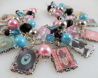 Lost in the 50s Altered Art Charm Bracelet Chunky Beaded Cha Cha Bracelet