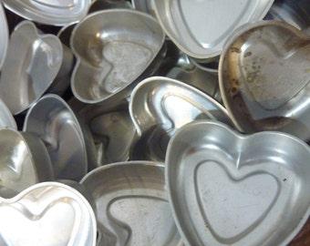 6 Heart Pan Aluminum Baking Mold Tin Tart Jello Cake Molds Valentine Love Wedding Anniversary Shower (#141)