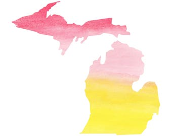 Michigan Watercolor Vinyl Decal Sticker A08