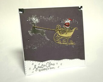 Christmas Greeting Card Santa Claus Is Coming To Town