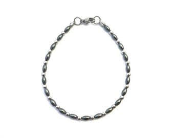 SIMPLICITY hematite bracelet, 4 mm hematite beads, stainless steel beads and finishing, steel bracelet, natural stone, stone steel, daily