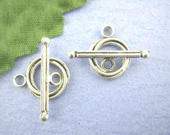 3 Antiqued Silver Simple Twist Toggle Clasp Sets