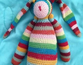 Handmade Multi Colored Crocheted Stuffed Floppy Earred Bunny Rabbit