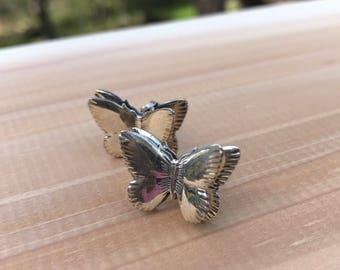 Silver Butterfly Earrings, Sterling Silver Butterfly Stud Earrings