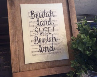 Beulah Land | Hand Painted Sign | hymn