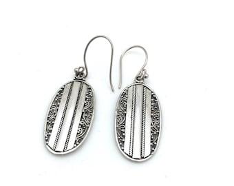 Oval Bali Dangle Earrings