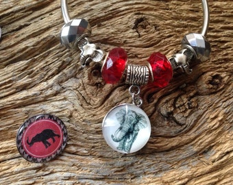 Alabama Roll Tide Elephant bracelet with interchangeable charms: Crimson Tide elephant snap chunk bracelet cuff Bama bracelet