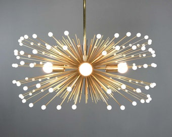 White Beaded Urchin Chandelier Lighting | Midcentury Modern Sputnik