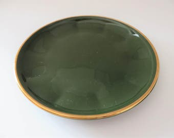 Apilco Yves Deshoulieres  1980's  green and gold tea plate, Bistroware, French vintage, Apilco tea plate, French Porcelain, 1st Quality