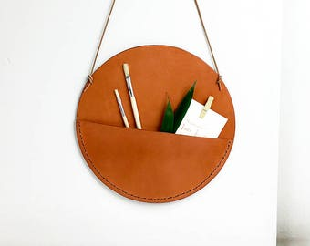 Pocket, Leather pocket,  Wall leather pocket, Wall hanging round pocket, Wall organicer, Modern wall organicer, Leather decorative